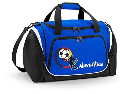 Mein Zwergenland Sporttasche Kinder personalisierbar mit Schuhfach, Kindersporttasche 39L mit Name und Fußballer Bedruckt in Royal Blau