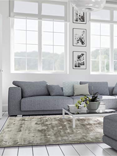 benuta Teppich Donna Viscose Grau 160x230 cm | Teppich für Wohn- und Schlafzimmer