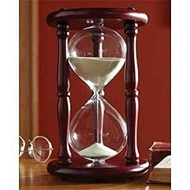 Lily's Home 60-Minute Hourglass Sand Timer with Cherry Finished Wood Base, Stylish Centerpiece for Home or Office Use, Ideal Gift for Executive, Chef or Kitchen Connoisseur (9.5  Tall x 6  Dia. Base)