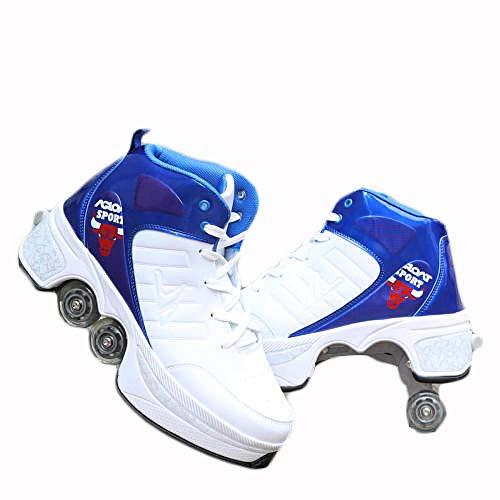 N / A Rollschuh Roller Skates Lauflernschuhe,Sneakers,2in1 Mehrzweckschuhe Schuhe mit Rollen Skateboardschuhe,Inline-Skate,Verstellbare Quad-Rollschuh Stiefel Skateboardschuhe,39,White Blue