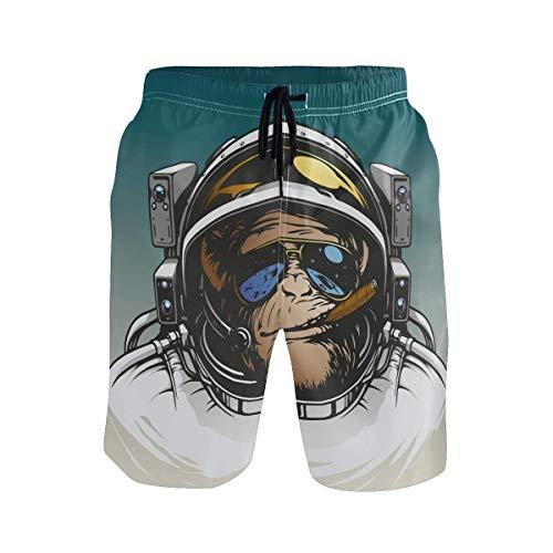 CODOYO Bañador para Hombre, Divertido Mono orangután, Mono Astronauta, Pantalones Cortos con Bolsillo, bañadores para Piscina de Vacaciones