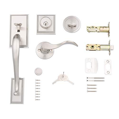 Amazon Basics Modern Exterior Door Handle with Left-Hand Wave Door Lever and Deadbolt Lock Set, Satin Nickel