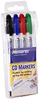 Memorex CD/DVD Permanent Marker,Ink Color: Blue, Black, Green, Red - 4 / Pack