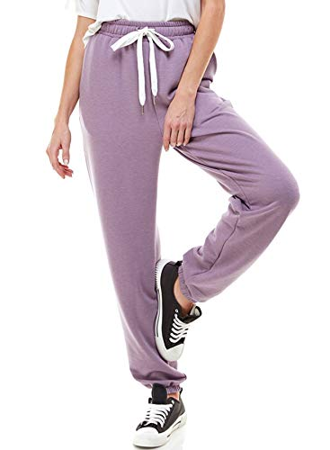 Women's High Waisted Sporty Gym Athletic Fit Jogger Sweatpants and Loose fit Lounge Trousers Made in USA (Lavender, X-Large)