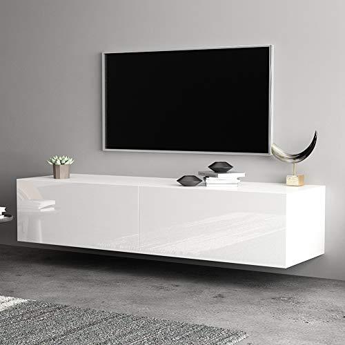 Pissente Tv-meubel 140 cm tv-lowboard, hoogglans wit