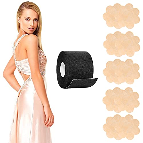 """Boob Tape and 10 Pcs Backless Nipple Cover Set, Breathable Large Breasts Support Lift Tape, Athletic Chest Tape with Breast Petals, Disposable Adhesive Bra for A-E Cup, Black, 2"""" x 16.4ft"""