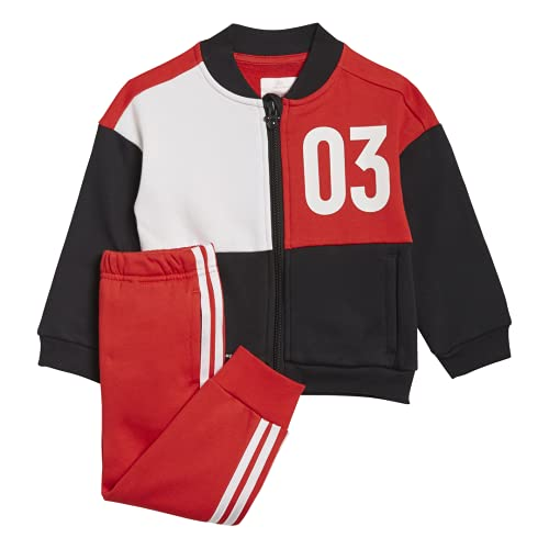 adidas Inf DY MM Jog B Tutina per Bambino e Neonato, Top:Black/Vivid White Bottom:Vivid Red S21/WHITE, 0-3M Bimbo 0-24