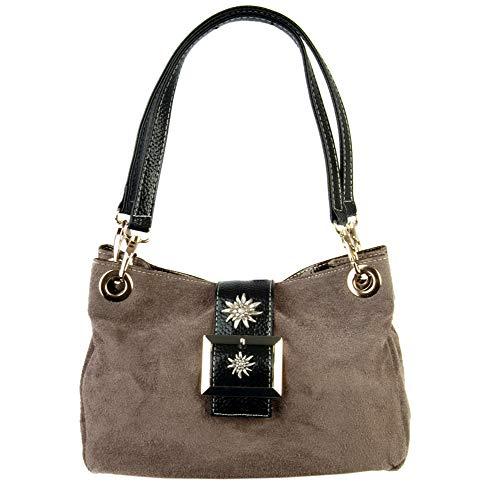 Trachten-Handtasche Dirndltasche mit Edelweiss Veloursleder Wildleder taupe grau-braun