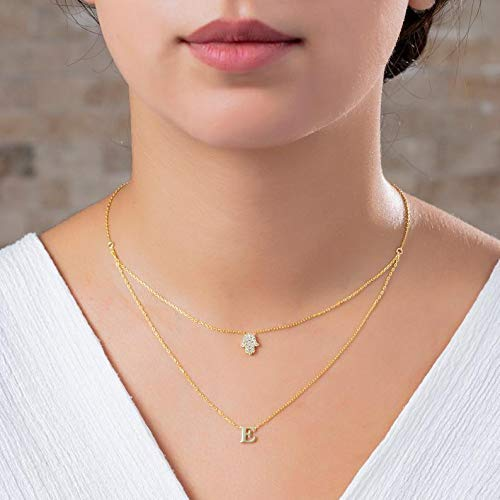 STERLING SILVER Personalized Pave Diamond Hamsa Initial Charm Layer Necklace