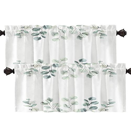 Batmerry Watercolor Botanical Kitchen Valances Half Window Curtain, Watercolor Botanical with Eucalyptus Leaves Floral Kitchen Valances for Windows Valance for Decor Reducing The Light 52x18 Inch