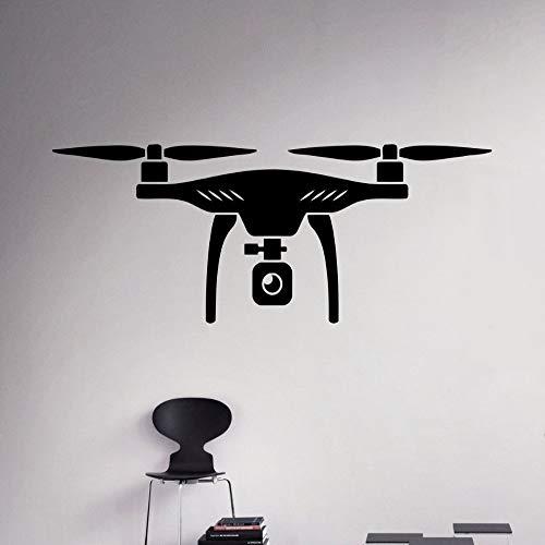 Shentop Nouveau sur Le Drone aérien muraux de Vinyle Autocollants muraux d'avions à Quatre Axes Avion Concept de décoration Murale de la Maison Amovible Design Stickers muraux b 90 x 34 cm