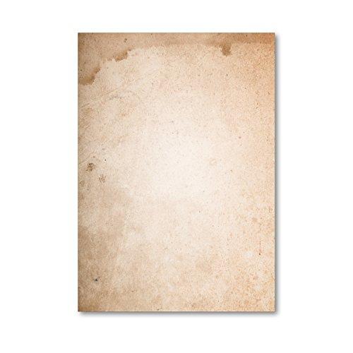 Briefbogen-Set Natur-Papier einseitig I 50 Blatt Briefpapier in DIN A4 I Motiv-Papier braun für Geburtstag Einladung I vintage retro I dv_212