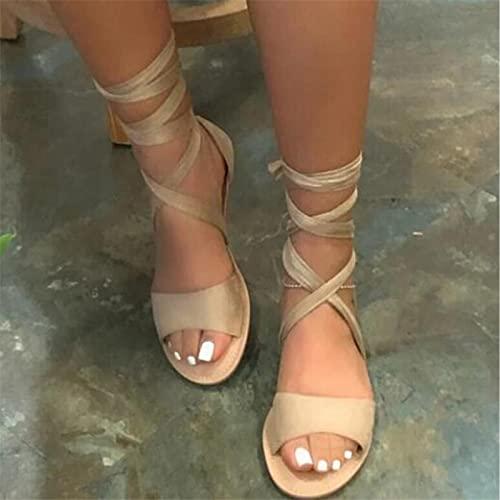 CTEJ 2020 Verano Sandalias Romanas Mujer Botas De Rodilla con Cordones Bohemia Zapatos Peep-Toe Zapatillas Planas De Playa,Beige,42