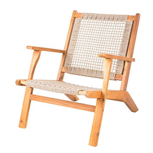 Patio Sense Vega Natural Stain Outdoor Chair | Acacia Wood Construction | Woven Web Seat | Mid...