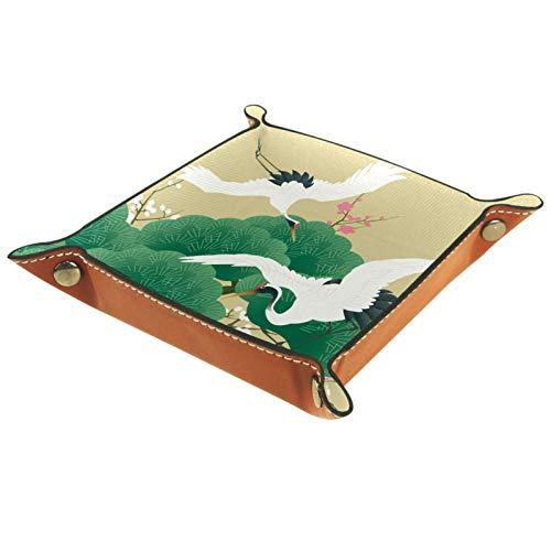 Bandeja de Valet Cuero para Hombres - Pájaro grulla japonés vintage - Caja de Almacenamiento Escritorio o Aparador Organizador,Captura para Llaves,Teléfono,Billetera,Moneda
