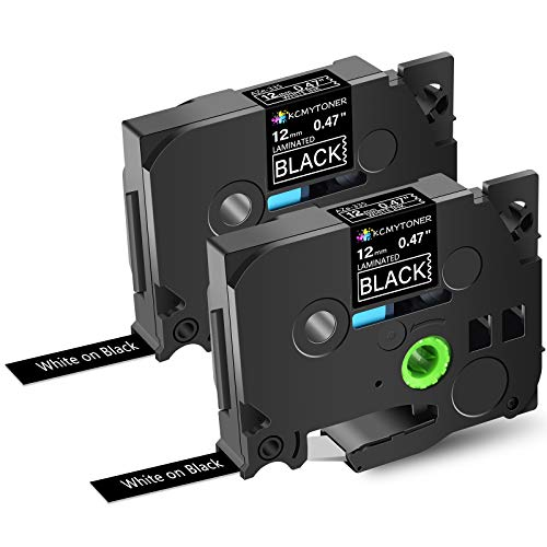 KCMYTONER Compatible for Brother P-Touch Label Tape White on Black, TZe335 TZ-335 Laminated Tapes 12mm for PT-200 PT-D210 PTD400AD PT-H100 PTD600 PT-P700 PT-2030 Label Maker, 1/2inch x 26.2ft, 2 Pack