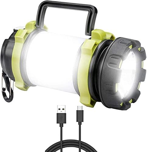 Linterna de camping recargable lámpara de antorcha 4 modos luces de trabajo 3000 mAh banco de energía impermeable camping linterna con cable USB para senderismo pesca emergencia