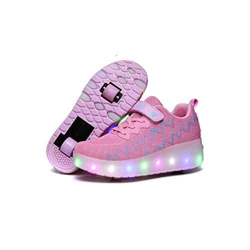 Roller Skates,Rollschuhe Mit LED-Licht,Mädchen Jungen Rollschuhe,Kinder Radschuhe, Roller Sneakers Schuhe,Mit Rädern Für Kinder,Rosa,35