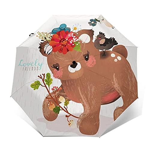 Ombrello Portatile Automatico Antivento, Ombrello Pieghevole Compatto, Folding Umbrella, Baldacchino Rinforzato, Impugnatura Ergonomica, Simpatico orsetto ghirlanda floreale
