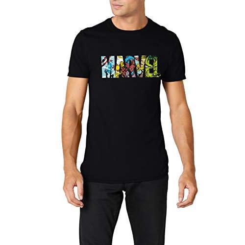 Marvel Comic Strip Logo T-Shirt, Nero, M Uomo