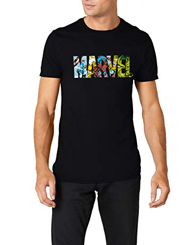 Marvel Comic Strip Logo T-Shirt Camiseta, Negro (Black), Large para Hombre