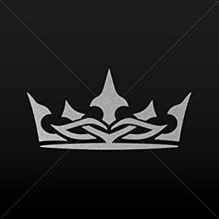 Decal Stickers Royal Crown Chess Queen King Kingdom Tablet Silver-Matte (4 X 1.97 Inches)