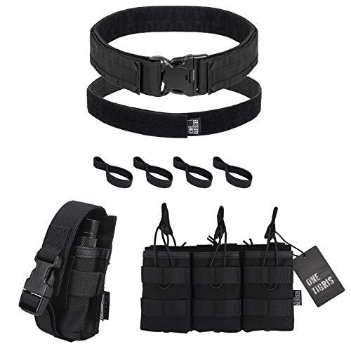 OneTigris Open-top Triple Magazine Pouch & Tactical Duty Belt & MOLLE Torch Holster (Black)