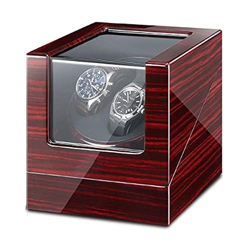 XLAHD Enrollador de Reloj automático, Caja de enrollador de Reloj Doble para Relojes automáticos con luz LED Azul, Adaptador de CA y enrollador de Reloj Exterior con Pintura de Piano a batería