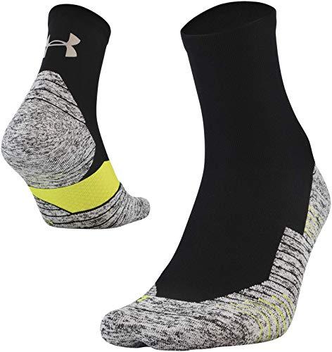 Under Armour Run Cushion Quarter Socks, 1-Pair, Black, Shoe Size: Mens 8-12, Womens 9-12
