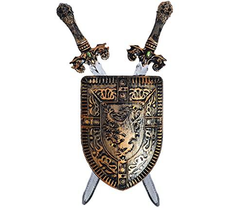 Alsino Weapons of The Knights Schild Ritter Set mit Zwei Schwertern für Kinder Kinderspielzeug Spielzeug Karnevalskostüm Faschingskostüm Verkleidung