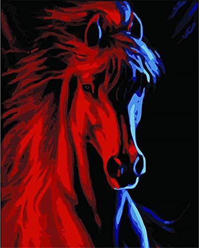 DIY Malen nach Zahlen für Erwachsene Junior Kinder, ABEUTY Roter Pferdekopf 40x50cm Weihnachten Valentinstag Geschenk