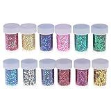 Artibetter 12pcs glitter polvere paillettes pittura paillettes a forma di stella glitter shaker per fai da te mestiere glitter carta che fa decorazione