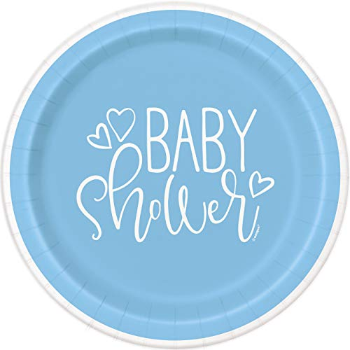 Unique Party - Platos de Papel - 18 cm - Diseño de Baby Shower de Corazones de color Azul - Paquete de 8 (73384)