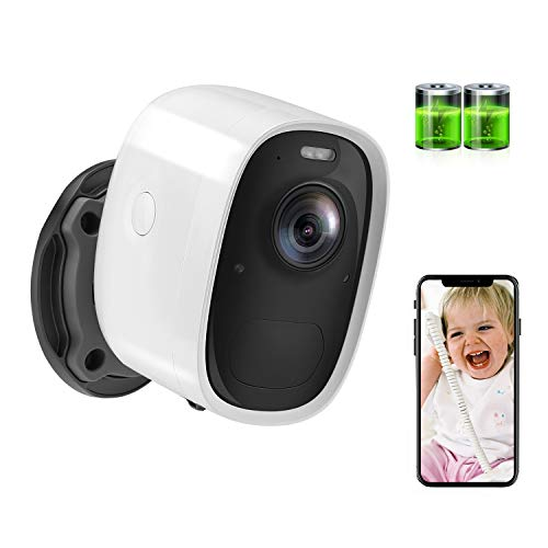 Aottom 1080P Cámara Vigilancia Exterior WiFi Batería Recarga Cámara Seguridad IP, Detección Movimiento Alarma, Audio Bidireccional, Monitorización Remota vía PC/Smartphone/Tableta, Soporta MAX 128G
