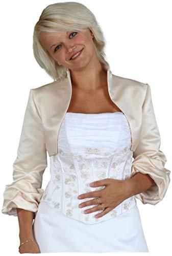 Bolero-jack Bolero bruidsbolero met opstaande kraag voor bruiloft trouwjurk bruidsjurk, satijn, 3/4 mouwen geplooid