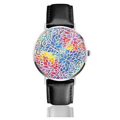 Reloj de Pulsera Follaje de Color arcoíris en Acuarela Correa de Cuero sintético Duradero Relojes de Negocios de Cuarzo Reloj de Pulsera Informal Unisex