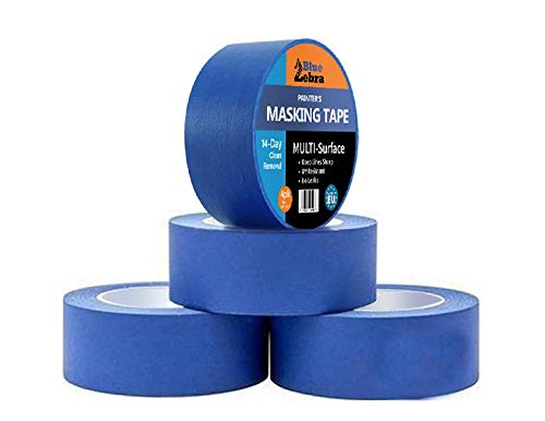 Zebra Blue Masking Tape | 2-inch (1.88 Inch x 60 Yard) | Pack of 4 Rolls | Painter's Tape | No Residue | Multi Use | UV & Sunlight-Resistant | Reliable | Made in Europe