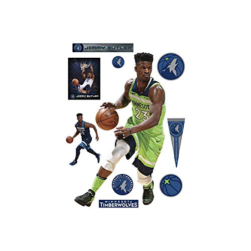 Fathead NBA Minnesota Timberwolves Jimmy Butler: Green Jersey - Life-Size Officially Licensed NBA Removable Wall Decal