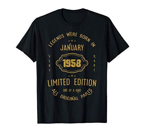 63 años de cumpleaños - Las leyendas nacen en enero de 1958 Camiseta