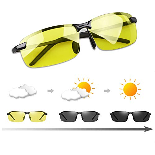 Men's Photochromic Polarized Sunglasses Day and Night Driving Sports Glasses