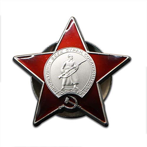 Kocreat Medalla de la Estrella Roja de la Unión Soviética Medalla del Ejército Rojo de Rusia Insignia CCCP-WW2 USA URSS Insignia Militar Medalla Colección Recuerdos Lapel Pins réplica