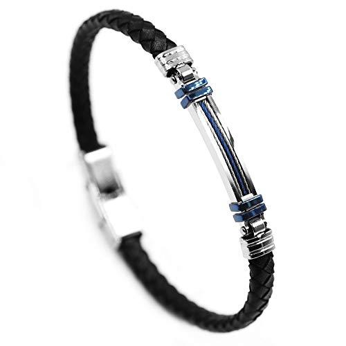 AWAKEN Viking - Pulsera de hombre clásica de piel con cierre magnético de acero inoxidable trenzado vintage, joyas para hombre Azul clásico