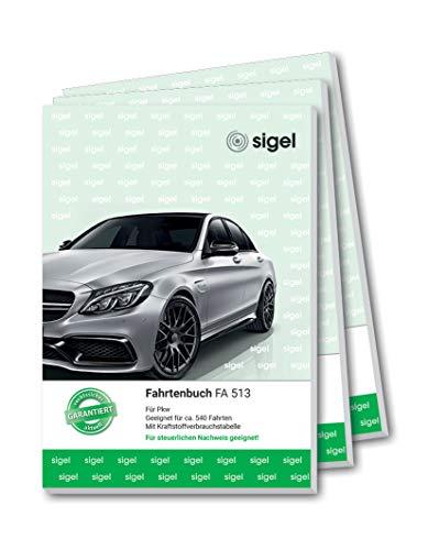 SIGEL FA513 Fahrtenbücher A5, 64 Seitent, 3er Pack - für Vielfahrer max. 540 Fahrten - für Deutschland und Österreich, vom Finanzamt anerkannt