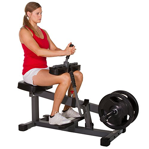 XMark 11-Gauge Seated Calf Raise with Height Adjustable Swiveling Thigh Pads, Dual Olympic Weight Posts, and Wide, Textured Non-Slip Foot Brace Bar XM-7613