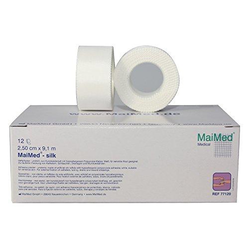 MaiMed Silk Rollenpflaster Heftpflaster 12 Rollen (2,5 cm x 9.1 m)