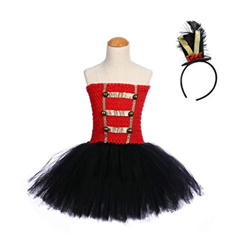 Amosfun Mädchen nussknacker kostüm Stirnband Set Drum Majorette Leistung Tutu Kleid Outfit Mint Lion Tamer Cosplay für Kinder Halloween Circus Ringmaster (für höhe 110-120 cm)