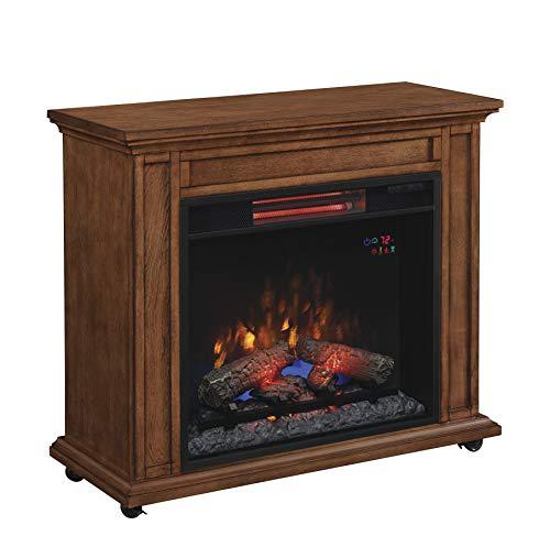 ClassicFlame 23IRM1500-O107 Rolling Mantel with Infrared Quartz Fireplace, Premium Oak
