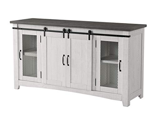 Martin Svensson Home Hampton TV Stand, White Stain with Grey Stain Top