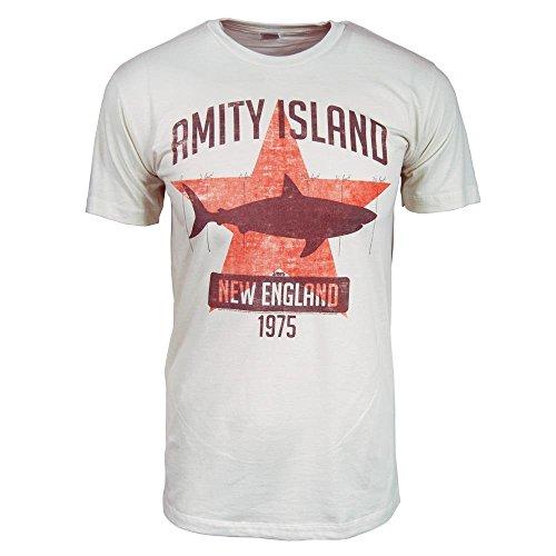 Hombres Tiburón Amity Island T Shirt Blanco Vintage S Blanco