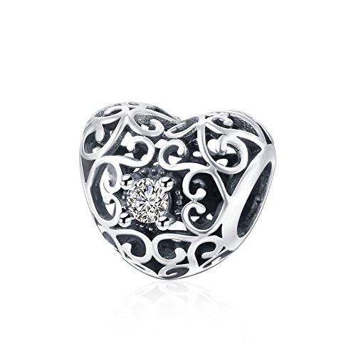 NYKKOLA, ciondolo in argento Sterling 925a forma di cuore con cristalli di zirconia cubica, adatto per braccialetti Pandora